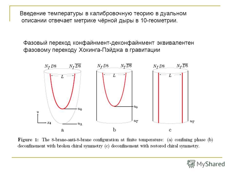 Введение температуры в калибровочную теорию в дуальном описании отвечает метрике чёрной дыры в 10-геометрии. Фазовый переход конфайнмент-деконфайнмент эквивалентен фазовому переходу Хокинга-Пэйджа в гравитации