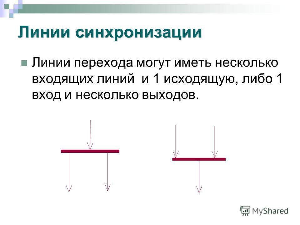 Линии синхронизации Линии перехода могут иметь несколько входящих линий и 1 исходящую, либо 1 вход и несколько выходов.