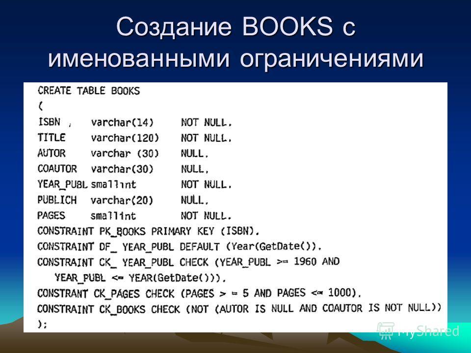 Создание BOOKS с именованными ограничениями
