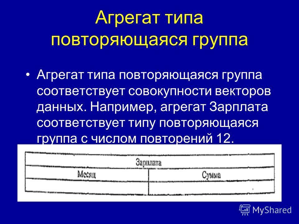 Агрегат типа повторяющаяся группа Агрегат типа повторяющаяся группа соответствует совокупности векторов данных. Например, агрегат Зарплата соответствует типу повторяющаяся группа с числом повторений 12.
