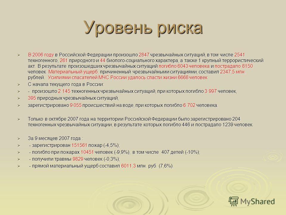 Уровень риска В 2006 году в Российской Федерации произошло 2847 чрезвычайных ситуаций, в том числе 2541 техногенного, 261 природного и 44 биолого-социального характера, а также 1 крупный террористический акт. В результате произошедших чрезвычайных си