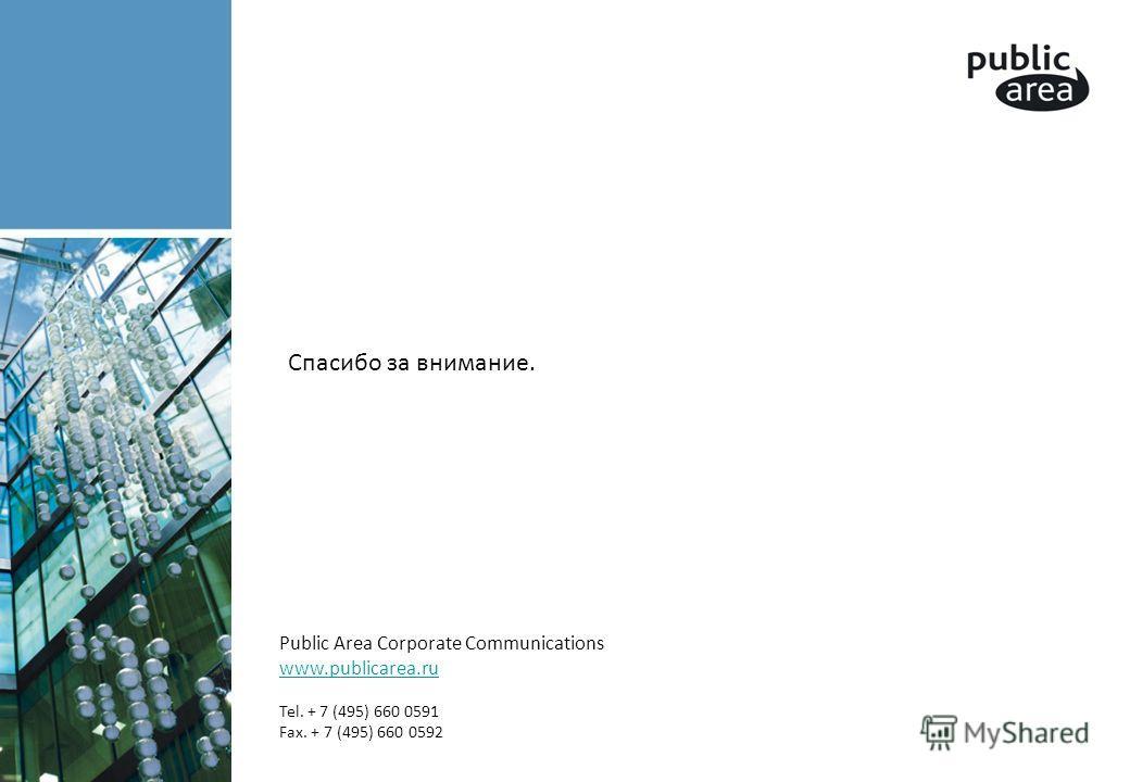 Спасибо за внимание. Public Area Corporate Communications www.publicarea.ru Tel. + 7 (495) 660 0591 Fax. + 7 (495) 660 0592 www.publicarea.ru