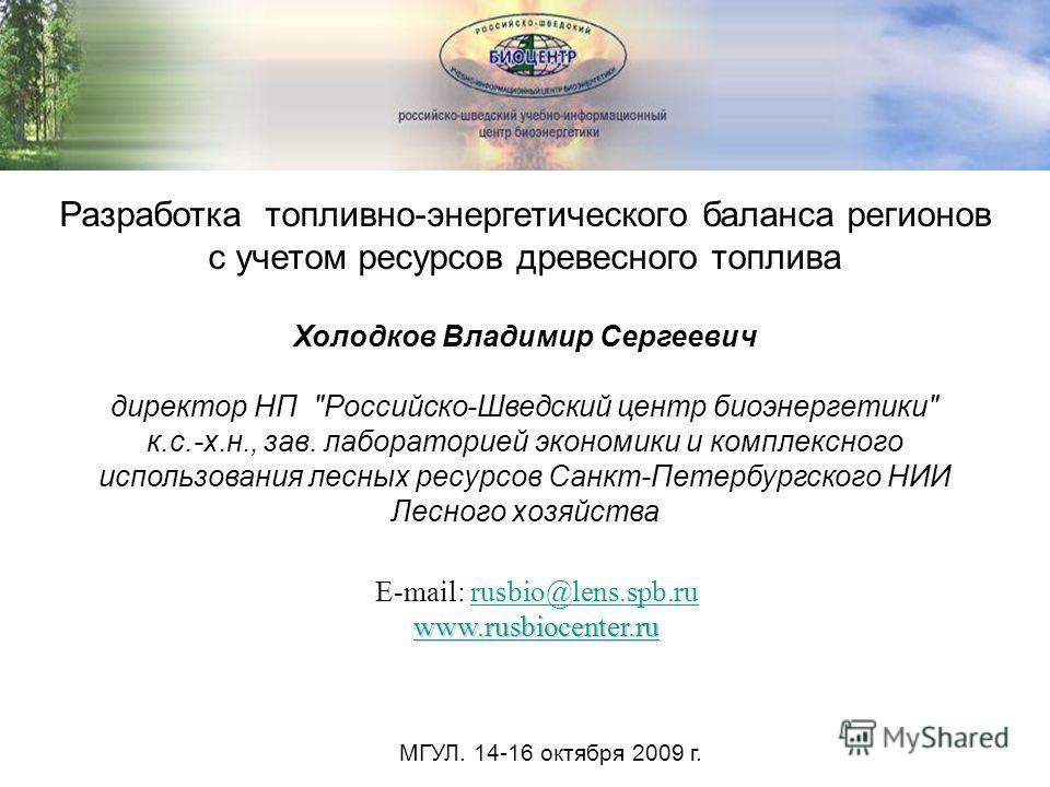 Разработка топливно-энергетического баланса регионов с учетом ресурсов древесного топлива Холодков Владимир Сергеевич директор НП