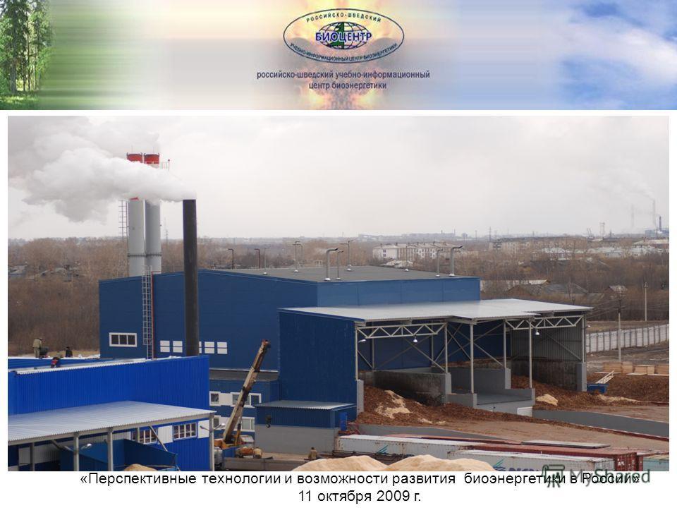 Перспективы «Перспективные технологии и возможности развития биоэнергетики в России» 11 октября 2009 г.