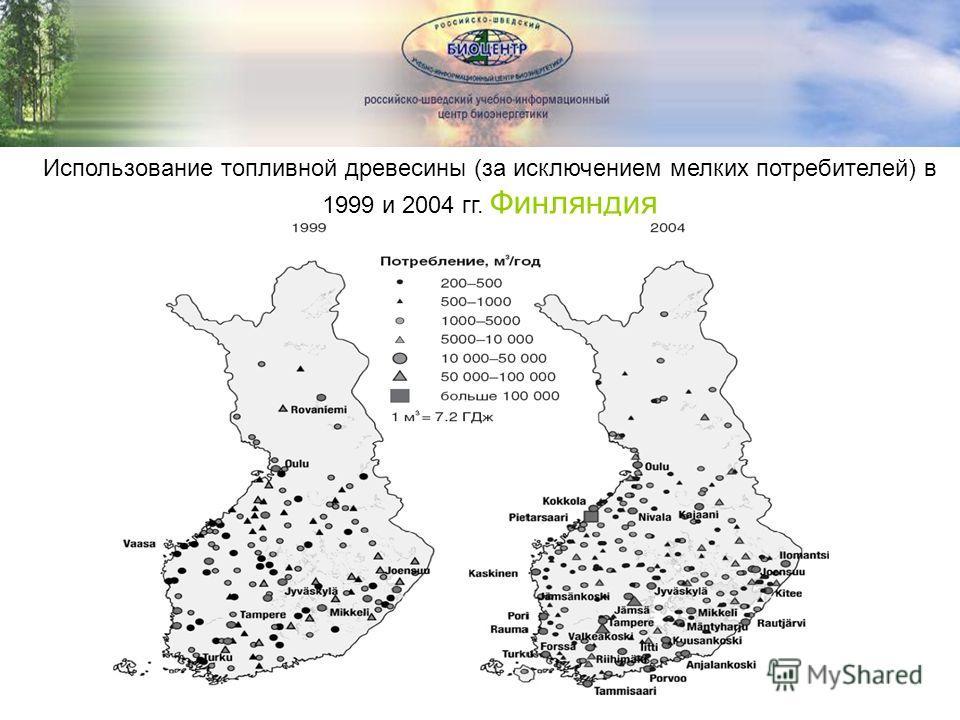 Использование топливной древесины (за исключением мелких потребителей) в 1999 и 2004 гг. Финляндия