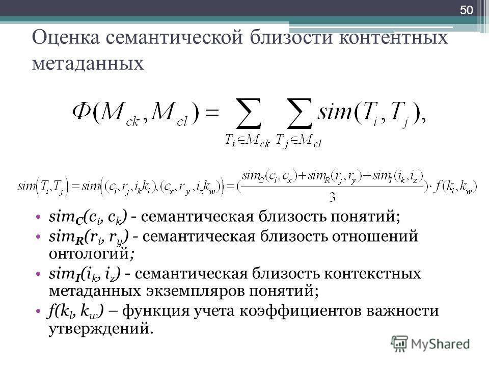 Оценка семантической близости контентных метаданных sim С (c i, c k ) - семантическая близость понятий; sim R (r i, r y ) - семантическая близость отношений онтологий; sim I (i k, i z ) - семантическая близость контекстных метаданных экземпляров поня