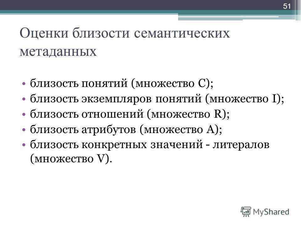 Оценки близости семантических метаданных близость понятий (множество C); близость экземпляров понятий (множество I); близость отношений (множество R); близость атрибутов (множество A); близость конкретных значений - литералов (множество V). 51
