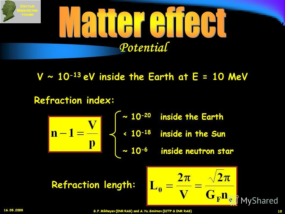 16.05.2008 S.P.Mikheyev (INR RAS) and A.Yu.Smirnov (ICTP & INR RAS) 10 V ~ 10 -13 eV inside the Earth at E = 10 MeV Refraction index: ~ 10 -20 inside the Earth < 10 -18 inside in the Sun ~ 10 -6 inside neutron star Refraction length: Шестые Марковски