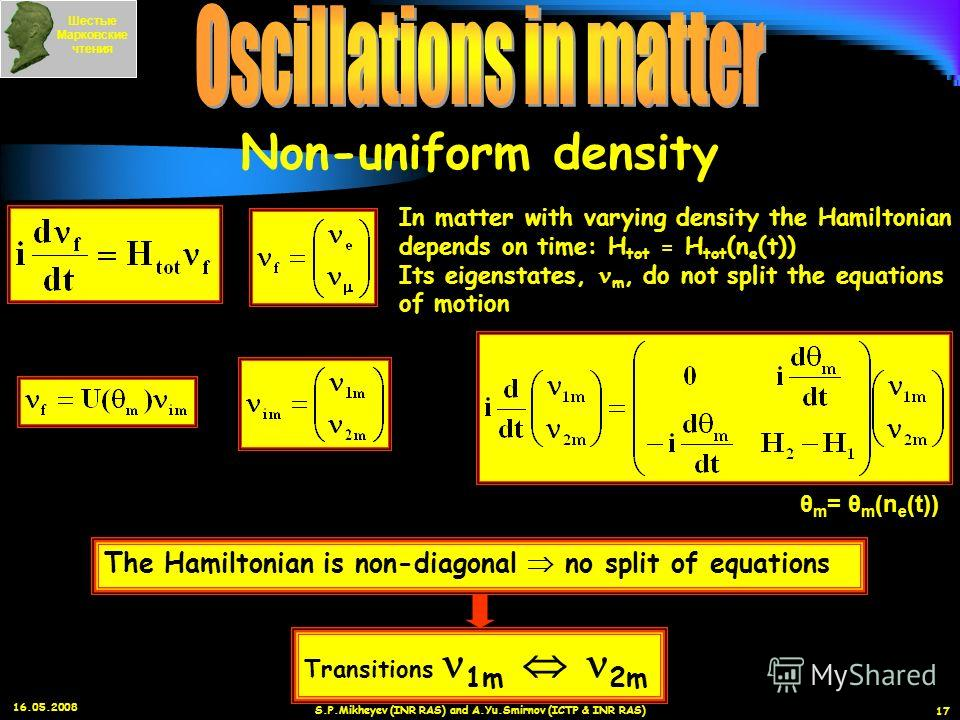 16.05.2008 S.P.Mikheyev (INR RAS) and A.Yu.Smirnov (ICTP & INR RAS) 17 In matter with varying density the Hamiltonian depends on time: H tot = H tot (n e (t)) Its eigenstates, m, do not split the equations of motion θ m = θ m (n e (t)) The Hamiltonia