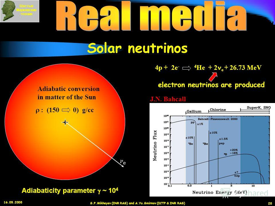 16.05.2008 S.P.Mikheyev (INR RAS) and A.Yu.Smirnov (ICTP & INR RAS) 28 J.N. Bahcall Oscillations in matter of the Earth Oscillations in vacuum 4p + 2e - 4 He + 2 e + 26.73 MeV electron neutrinos are produced Adiabatic conversion in matter of the Sun