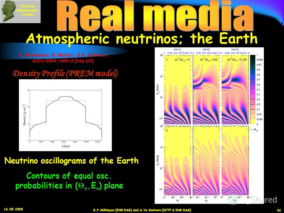 16.05.2008 S.P.Mikheyev (INR RAS) and A.Yu.Smirnov (ICTP & INR RAS) 42 Шестые Марковские чтения Atmospheric neutrinos; the Earth E. Akhmedov, M. Maltoni & A. Smirnov, arXiv:0804.1466v3 [hep-ph] Contours of equal osc. probabilities in (,E ) plane Neut