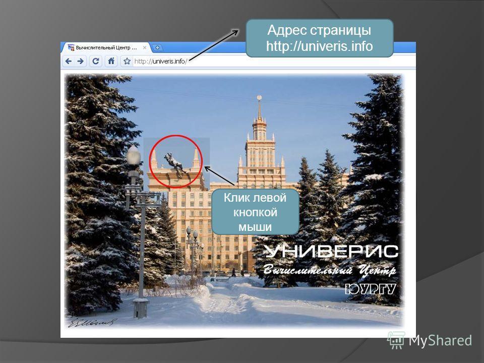 Клик левой кнопкой мыши Адрес страницы http://univeris.info