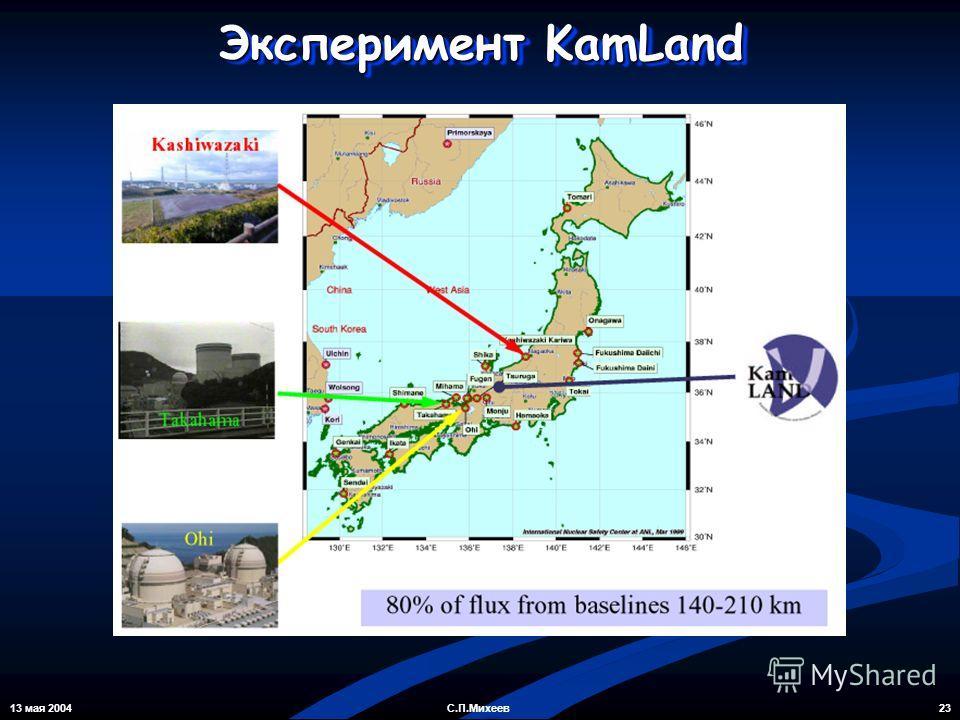 13 мая 2004 23С.П.Михеев Эксперимент KamLand