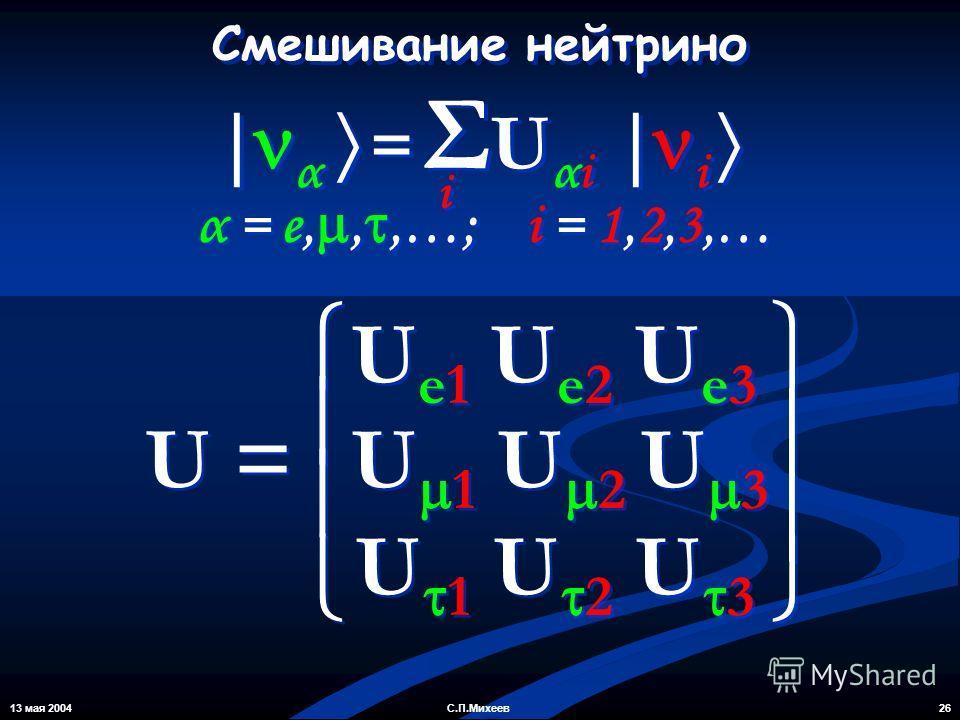 13 мая 2004 26С.П.Михеев U e1 U e2 U e3 U 1 U 2 U 3 U e1 U e2 U e3 U 1 U 2 U 3 U = Смешивание нейтрино α = e,,,…; i = 1,2,3,… | α = Σ U αi | i i i