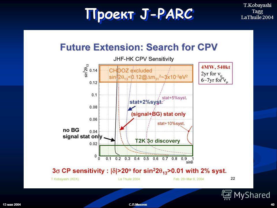 13 мая 2004 40С.П.Михеев Проект J-PARC T.Kobayashi Tagg LaThuile 2004