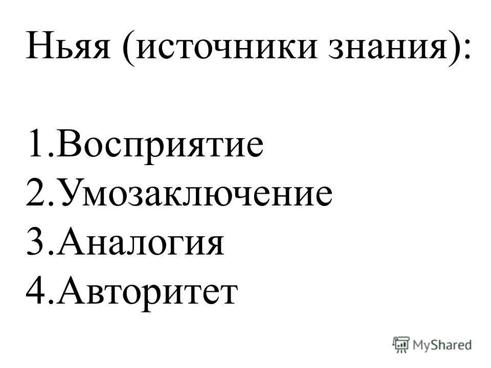 Ньяя (источники знания): 1.Восприятие 2.Умозаключение 3.Аналогия 4.Авторитет