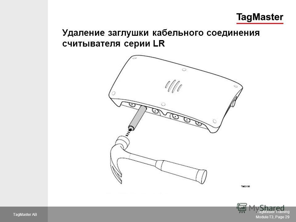 TagMaster Training Module T3, Page 29 TagMaster AB Удаление заглушки кабельного соединения считывателя серии LR