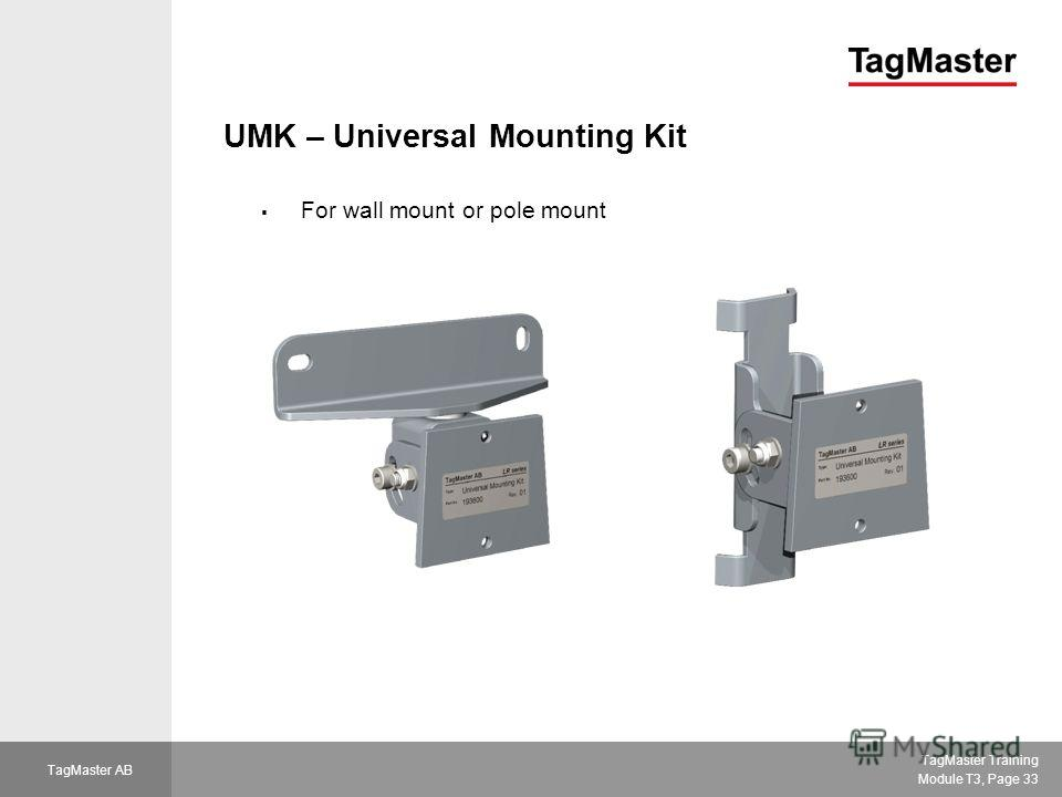 TagMaster Training Module T3, Page 33 TagMaster AB UMK – Universal Mounting Kit For wall mount or pole mount