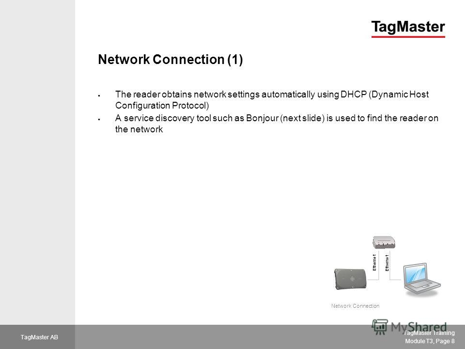 TagMaster Training Module T3, Page 8 TagMaster AB Network Connection (1) The reader obtains network settings automatically using DHCP (Dynamic Host Configuration Protocol) A service discovery tool such as Bonjour (next slide) is used to find the read