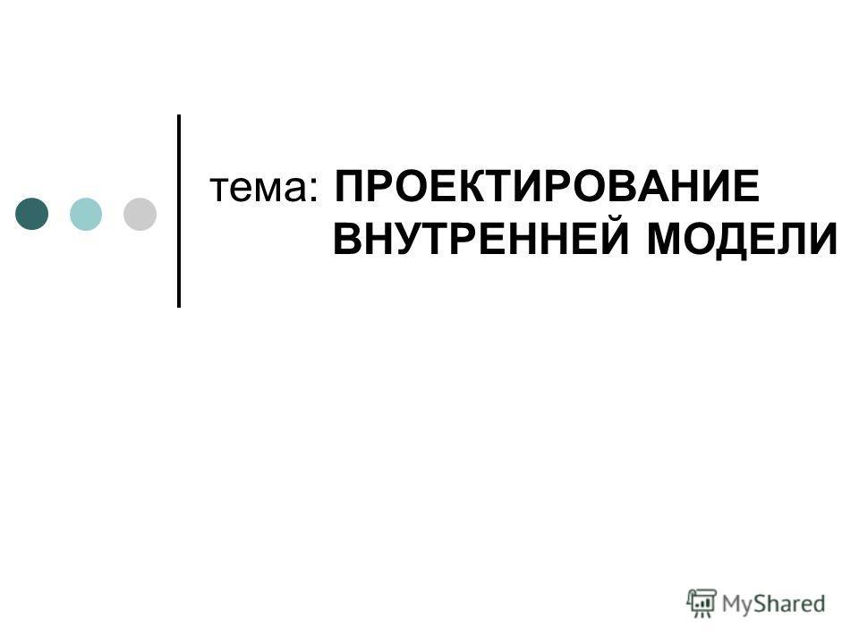 тема: ПРОЕКТИРОВАНИЕ ВНУТРЕННЕЙ МОДЕЛИ