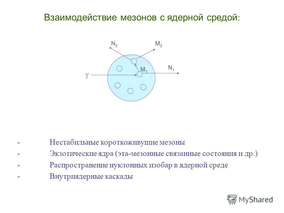 Взаимодействие мезонов с ядерной средой : - Нестабильные короткоживущие мезоны - Экзотические ядра (эта-мезонные связанные состояния и др.) - Распространение нуклонных изобар в ядерной среде - Внутриядерные каскады