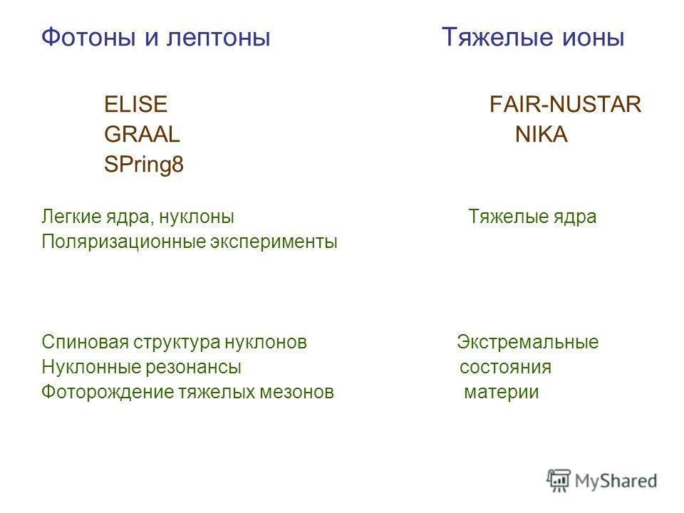 Фотоны и лептоны Тяжелые ионы ELISE FAIR-NUSTAR GRAAL NIKA SPring8 Легкие ядра, нуклоны Тяжелые ядра Поляризационные эксперименты Спиновая структура нуклонов Экстремальные Нуклонные резонансы состояния Фоторождение тяжелых мезонов материи