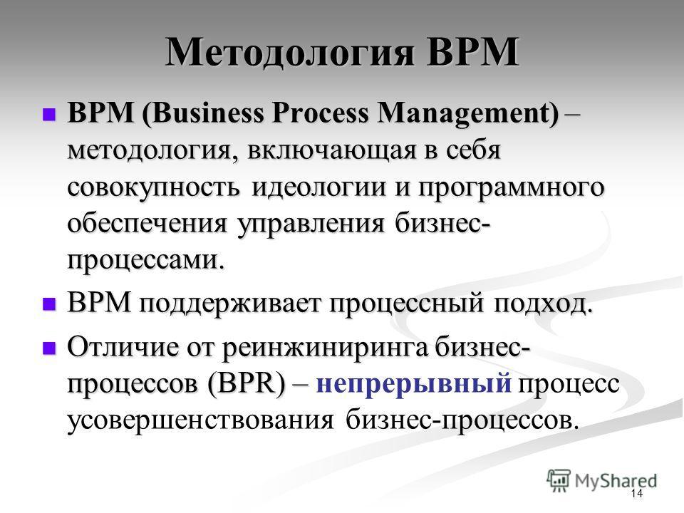 14 Методология BPM BPM (Business Process Management) – методология, включающая в себя совокупность идеологии и программного обеспечения управления бизнес- процессами. BPM (Business Process Management) – методология, включающая в себя совокупность иде