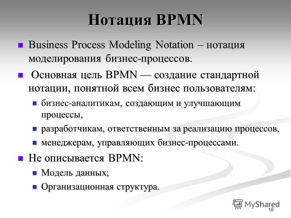 18 Нотация BPMN Business Process Modeling Notation – нотация моделирования бизнес-процессов. Business Process Modeling Notation – нотация моделирования бизнес-процессов. Основная цель BPMN создание стандартной нотации, понятной всем бизнес пользовате