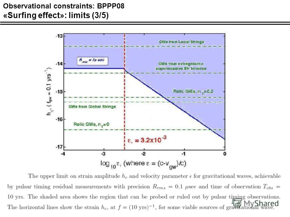 Observational constraints: BPPP08 «Surfing effect»: limits (3/5)