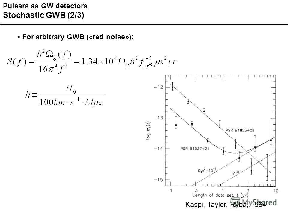 For arbitrary GWB («red noise»): Kaspi, Taylor, Ryba, 1994 Pulsars as GW detectors Stochastic GWB (2/3)