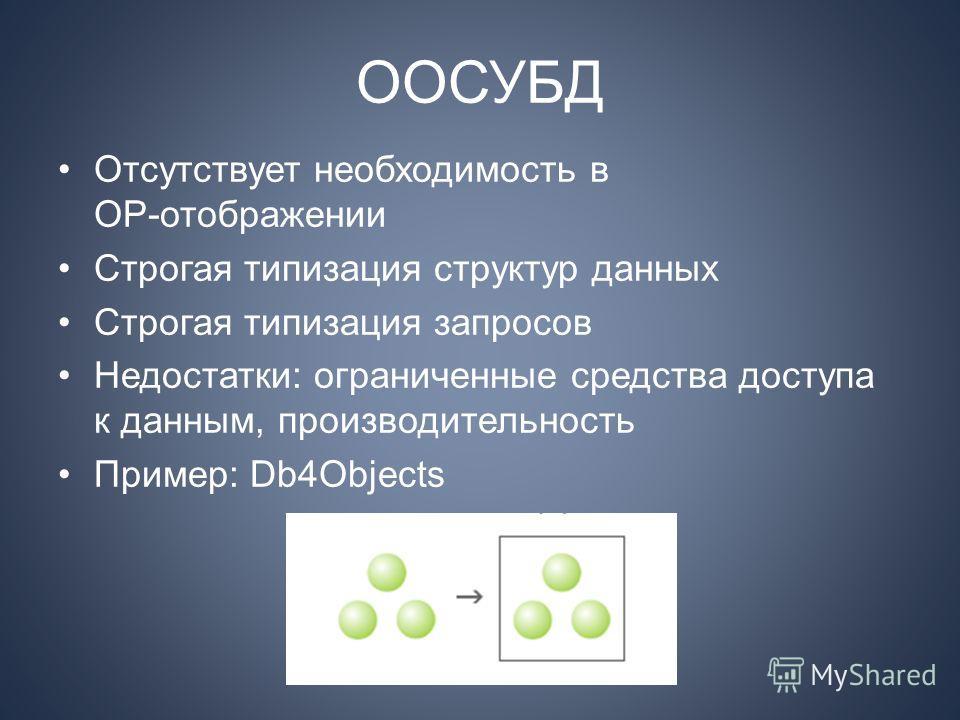 ООСУБД Отсутствует необходимость в ОР отображении Строгая типизация структур данных Строгая типизация запросов Недостатки: ограниченные средства доступа к данным, производительность Пример: Db4Objects