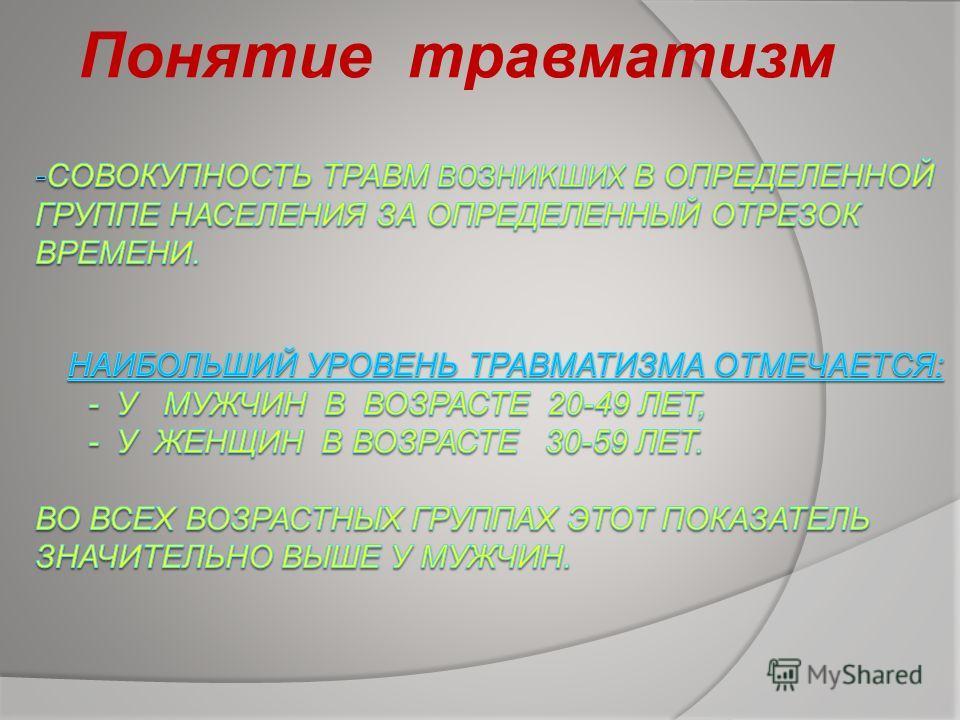 Понятие травматизм