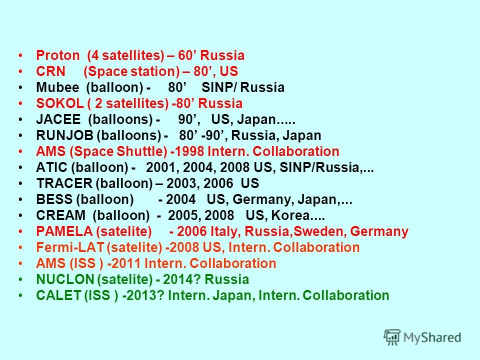 Proton (4 satellites) – 60 Russia CRN (Space station) – 80, US Mubee (balloon) - 80 SINP/ Russia SOKOL ( 2 satellites) -80 Russia JACEE (balloons) - 90, US, Japan..... RUNJOB (balloons) - 80 -90, Russia, Japan AMS (Space Shuttle) -1998 Intern. Collab