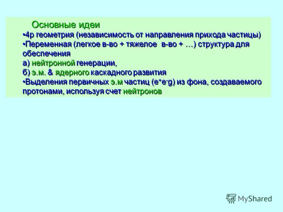 Основные идеи Основные идеи 4p геометрия (независимость от направления прихода частицы)4p геометрия (независимость от направления прихода частицы) Переменная (легкое в-во + тяжелое в-во + …) структура для обеспечения а) нейтронной генерации, б) э.м.