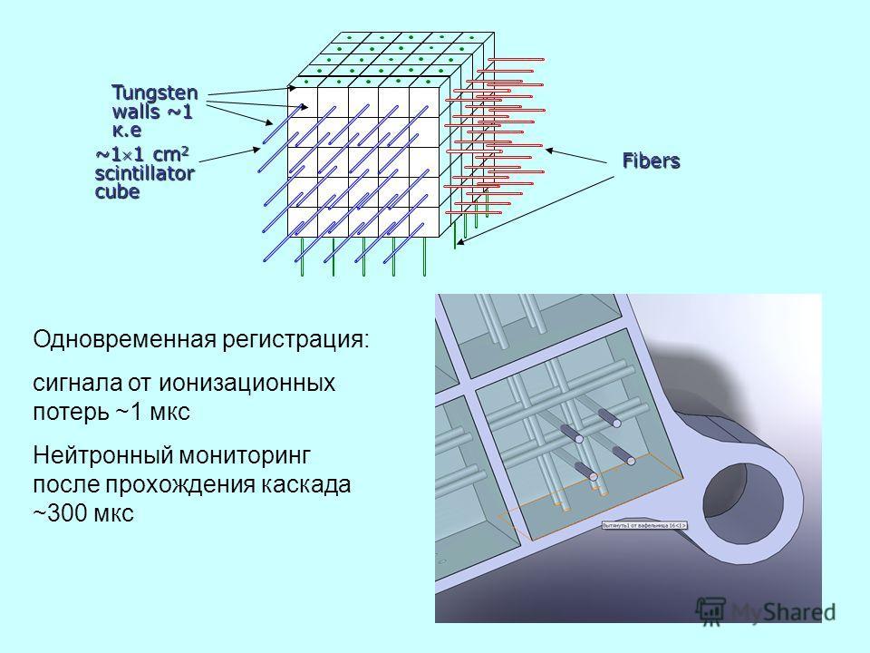Fibers Одновременная регистрация: сигнала от ионизационных потерь ~1 мкс Нейтронный мониторинг после прохождения каскада ~300 мкс ~11 cm 2 scintillator cube Tungsten walls ~1 к.е