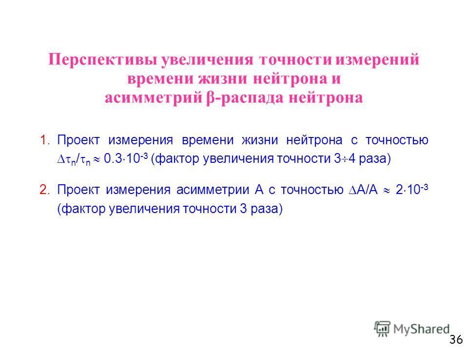 36 Перспективы увеличения точности измерений времени жизни нейтрона и асимметрий β-распада нейтрона 1.Проект измерения времени жизни нейтрона с точностью n / n 0.3 10 -3 (фактор увеличения точности 3 4 раза) 2.Проект измерения асимметрии А с точность