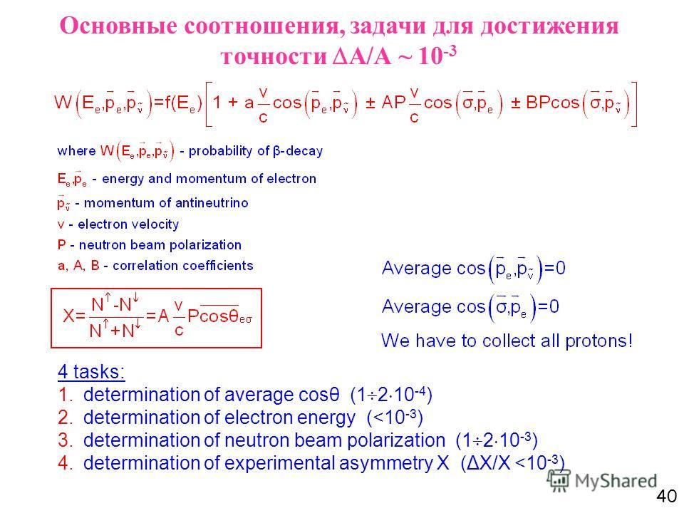 40 Основные соотношения, задачи для достижения точности А/А ~ 10 -3 4 tasks: 1.determination of average cosθ (1 2 10 -4 ) 2.determination of electron energy (