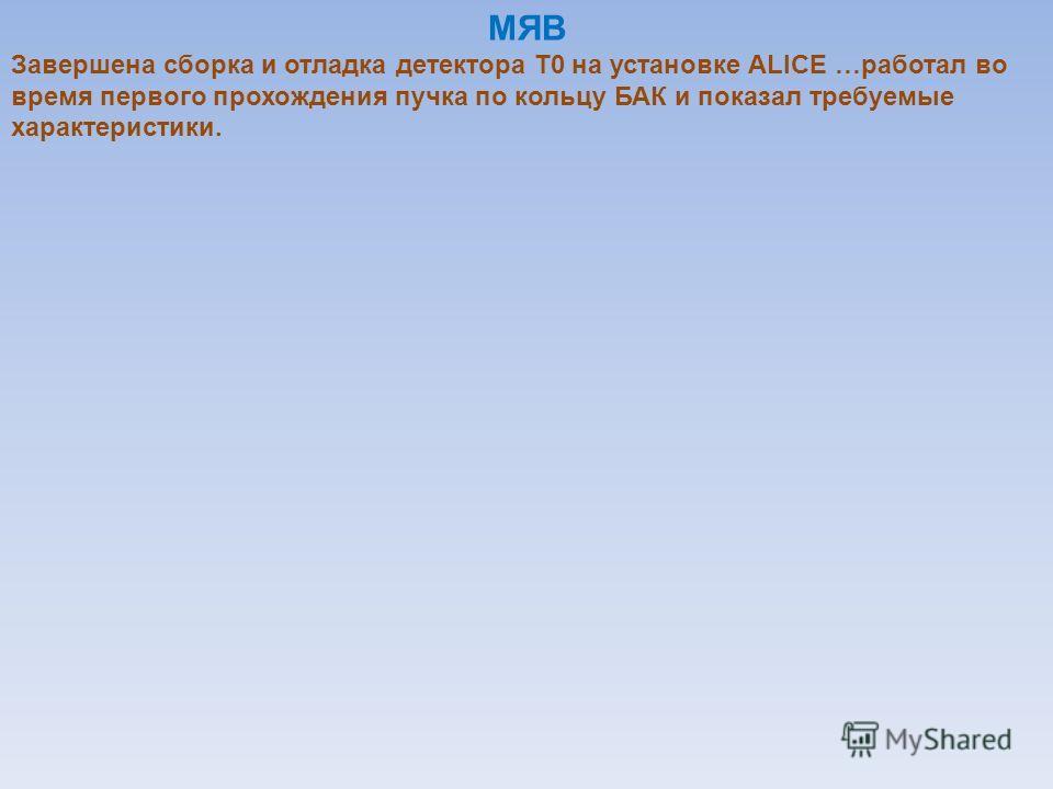 МЯВ Завершена сборка и отладка детектора Т0 на установке ALICE …работал во время первого прохождения пучка по кольцу БАК и показал требуемые характеристики.