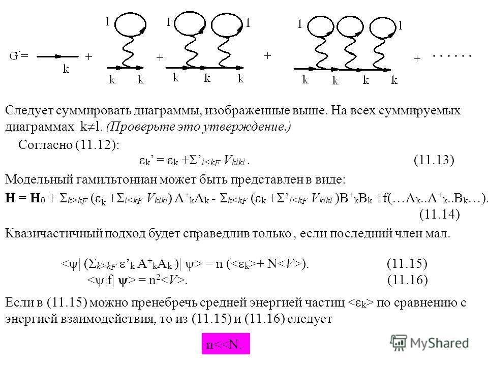 Следует суммировать диаграммы, изображенные выше. На всех суммируемых диаграммах k l. (Проверьте это утверждение.) Согласно (11.12): k = k + lk F ( k + l