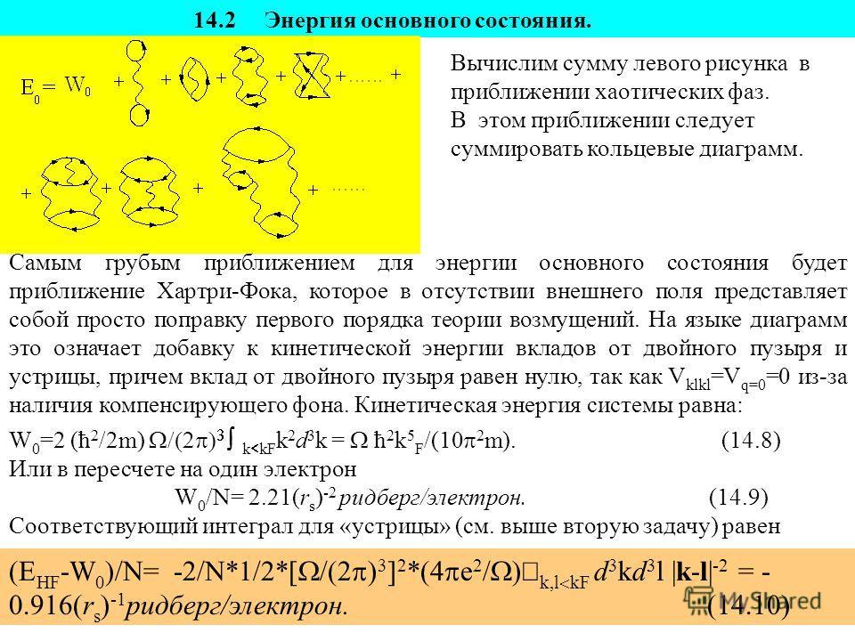 14.2 Энергия основного состояния. Вычислим сумму левого рисунка в приближении хаотических фаз. В этом приближении следует суммировать кольцевые диаграмм. Самым грубым приближением для энергии основного состояния будет приближение Хартри-Фока, которое