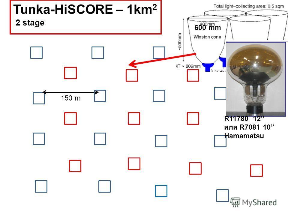 150 m Tunka-HiSCORE – 1km 2 2 stage 600 mm R11780 12 или R7081 10 Hamamatsu