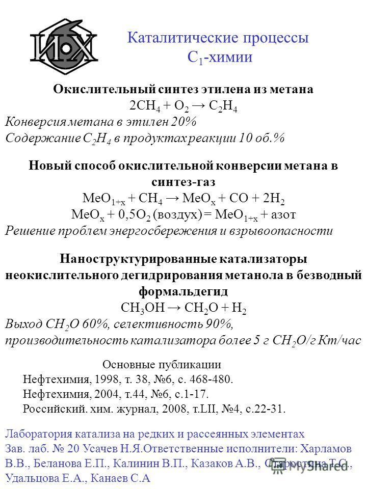 Каталитические процессы C 1 -химии Окислительный синтез этилена из метана 2СН 4 + О 2 С 2 Н 4 Конверсия метана в этилен 20% Содержание С 2 Н 4 в продуктах реакции 10 об.% Новый способ окислительной конверсии метана в синтез-газ МеО 1+х + СН 4 МеО х +