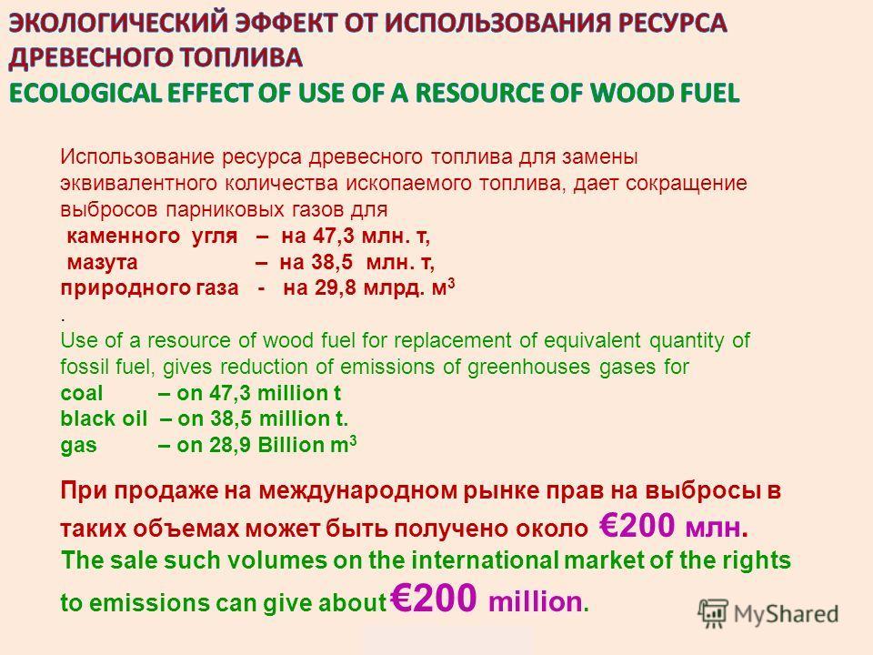 ОПРЕДЕЛЕНИЯ И ТЕРМИНЫ DEFINITIONS AND TERMS Использование ресурса древесного топлива для замены эквивалентного количества ископаемого топлива, дает сокращение выбросов парниковых газов для каменного угля – на 47,3 млн. т, мазута – на 38,5 млн. т, при