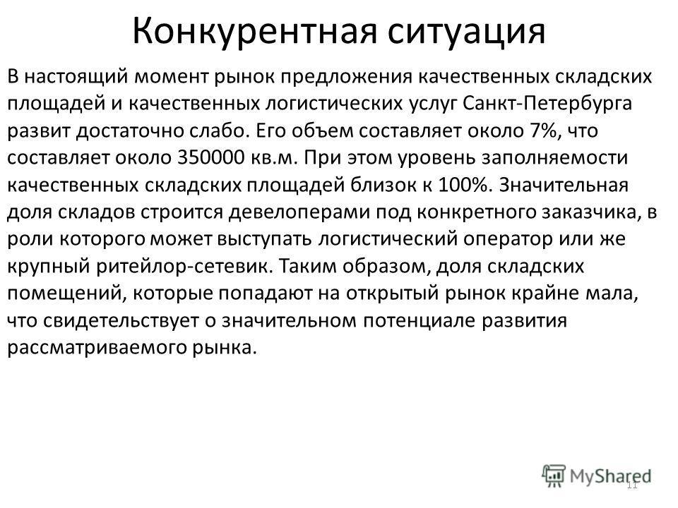 Конкурентная ситуация 11 В настоящий момент рынок предложения качественных складских площадей и качественных логистических услуг Санкт-Петербурга развит достаточно слабо. Его объем составляет около 7%, что составляет около 350000 кв.м. При этом урове