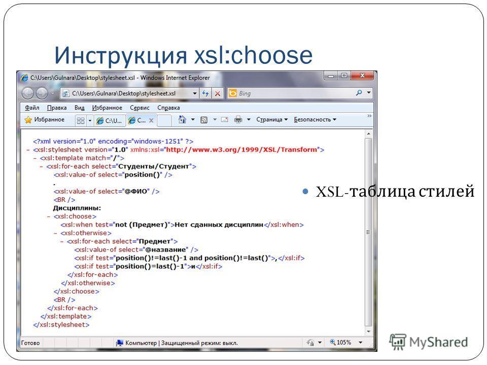 Инструкция xsl:choose XSL- таблица стилей