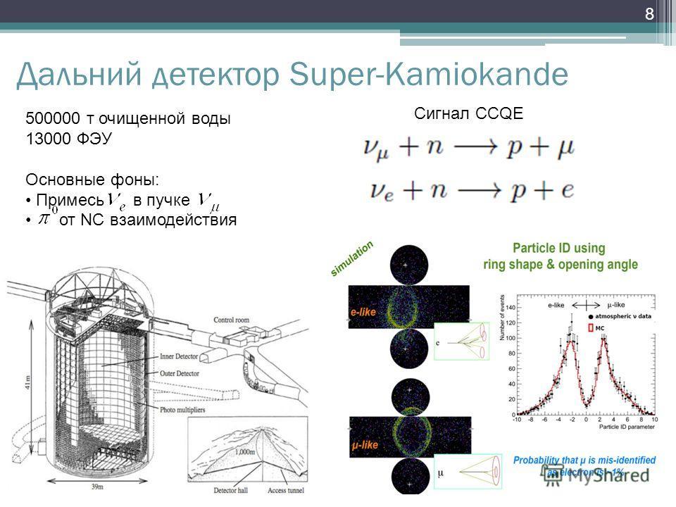 8 Дальний детектор Super-Kamiokande Сигнал CCQE 500000 т очищенной воды 13000 ФЭУ Основные фоны: Примесь в пучке от NC взаимодействия