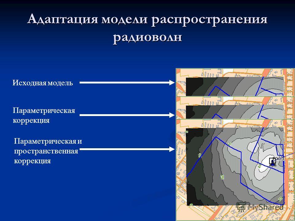 Адаптация модели распространения радиоволн Исходная модель Параметрическая коррекция Параметрическая и пространственная коррекция
