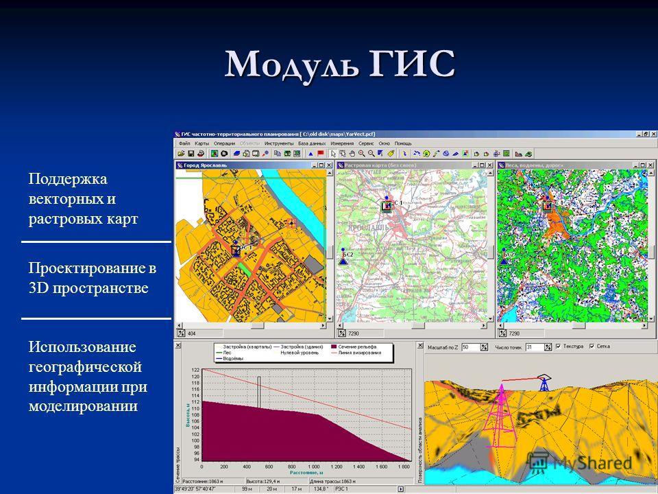 Модуль ГИС Поддержка векторных и растровых карт Проектирование в 3D пространстве Использование географической информации при моделировании