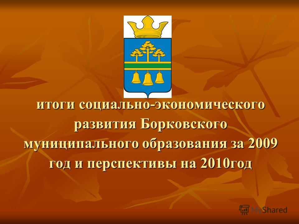 итоги социально-экономического развития Борковского муниципального образования за 2009 год и перспективы на 2010год