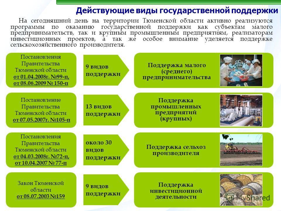 Действующие виды государственной поддержки На сегодняшний день на территории Тюменской области активно реализуются программы по оказанию государственной поддержки как субъектам малого предпринимательств, так и крупным промышленным предприятиям, реали